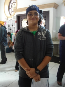 Navraj Deep, 13, poses for a picture at the Sant Sagar Gurdwara.