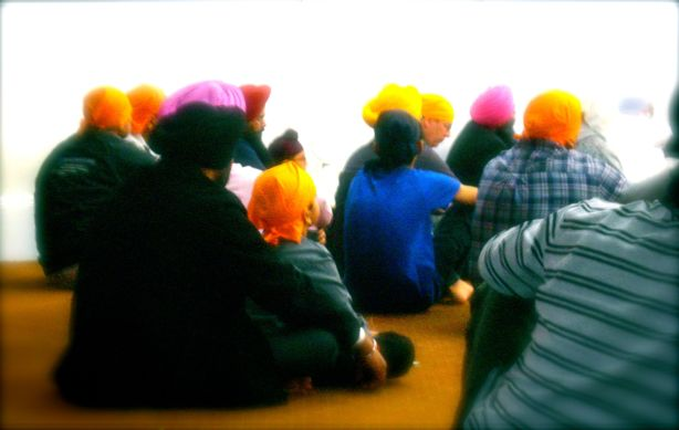 Sikh devotee at the Sant Sagar Gurdwara in Bellerose, Queens.
