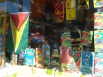 International calling cards to Guyana sold in a store window.